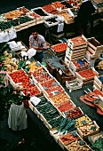 People at an Outdoor Market; Fruit and Vegetables