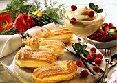 Eclairs filled with vanilla mousse & fresh raspberries