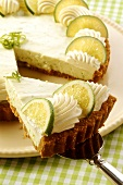 A piece of lime pie on cake slice