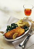 Veal escalope with parmesan crust, spinach & mashed potato