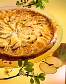 Apple tart in puff pastry on glass plate