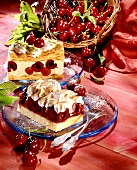 Puff pastry with cherries & cherry slice with meringue