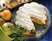 Puff pastry meringue tart with mint and chocolate
