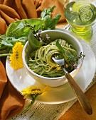 Spaghetti with green herb sauce