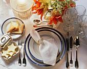 Festive table setting for dinner on the Titanic