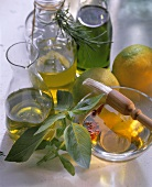 Home-made spiced oil: pesto and lemon oil