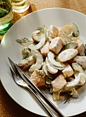 Salmon salad with cucumber, potatoes & dill