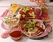 New Year's Eve dish: turkey breast and various salads