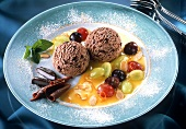 Chocolate mint ice cream on grape & almond sauce