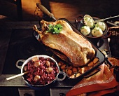 Martinmas goose with red cabbage & chestnuts & dumplings