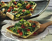 Coca de verduras: tray-baked yeast tart with vegetables