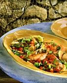 Salmon, Majorcan style with chard & potatoes