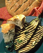 Grilled aubergine slices with flat bread