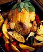 Stuffed chicken with grilled vegetables in roasting dish