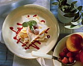 Lasagne with nectarine yoghurt mousse and raspberries