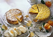 Three different cakes with citrus fruits
