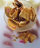 A bowl of fortune cookies