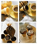 Making chocolate wafer cones with cake filling