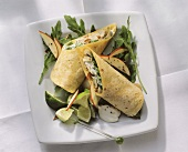 Tortillas with a filling of mushrooms, rocket & apples