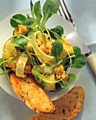 Lentils & corn salad with courgette strips & pineapple