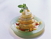 Ice cream tower: coconut biscuits & pineapple ice cream