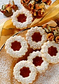 Sweet pastry biscuits with rose hip jam filling