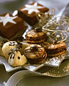 Christmas biscuits & brownies on star-shaped plate