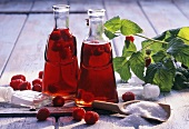 Two bottles of home-made raspberry vinegar