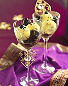 Vanilla ice cream with bottled prunes