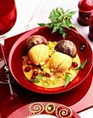 Maracuya ice cream on fruit sauce
