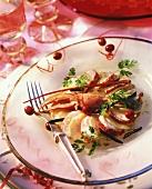Lobster with celery slices, arranged in fan shape