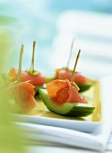 Cucumber snacks with smoked salmon and preserved ginger