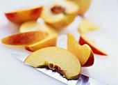 Several peach slices
