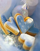 Blue pastry hearts with jam filling