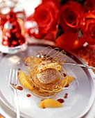 Gingerbread mousse with orange segments & caramel lattice