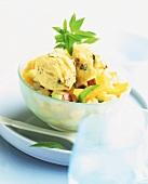 Malaga ice cream on fruit salad