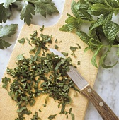 Finely chopping herbs