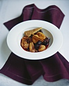 Dried fruit in red wine sauce