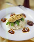 Herb chicken breast on mangetouts & potato salad