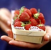 Hand holding punnet of strawberries