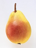 A yellow and red Santa Maria pear