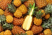 Many pineapples, one cut into (filling the picture)