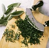 Chopping herbs with mezzaluna