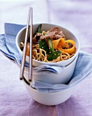 Asian noodles with ostrich meat