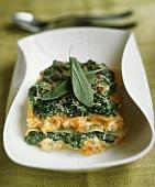 Vegetarian lasagna with sage leaves