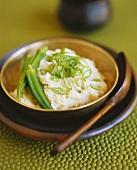 Mashed potato with okra pods