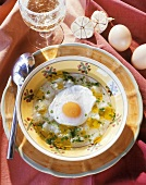 Portuguese bread soup with fried egg and garlic