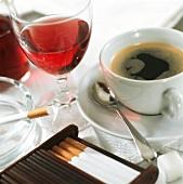 Luxury items: cigarettes, coffee and rose wine
