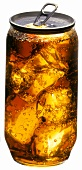 Cola with ice in transparent can