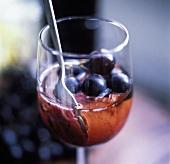 Grape sorbet in a glass